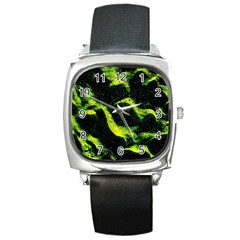 Green Northern Lights Square Metal Watches by Costasonlineshop