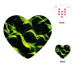 Green Northern Lights Playing Cards (heart)  by Costasonlineshop