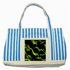 Green Northern Lights Striped Blue Tote Bag  by Costasonlineshop