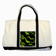 Green Northern Lights Two Tone Tote Bag  by Costasonlineshop