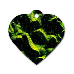 Green Northern Lights Dog Tag Heart (two Sides) by Costasonlineshop