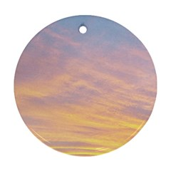 Yellow Blue Pastel Sky Round Ornament (two Sides)