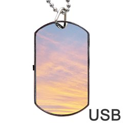 Yellow Blue Pastel Sky Dog Tag Usb Flash (two Sides)  by Costasonlineshop