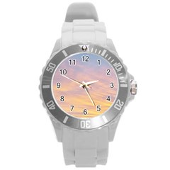 Yellow Blue Pastel Sky Round Plastic Sport Watch (l) by Costasonlineshop