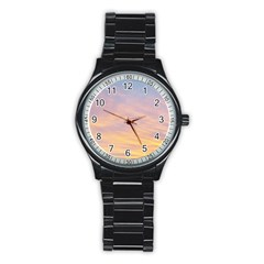 Yellow Blue Pastel Sky Stainless Steel Round Watches by Costasonlineshop