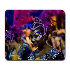Costumed Attractive Dancer Woman At Carnival Parade Of Uruguay Large Mousepads by dflcprints