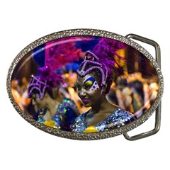 Costumed Attractive Dancer Woman At Carnival Parade Of Uruguay Belt Buckles