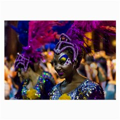 Costumed Attractive Dancer Woman At Carnival Parade Of Uruguay Large Glasses Cloth by dflcprints