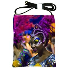 Costumed Attractive Dancer Woman At Carnival Parade Of Uruguay Shoulder Sling Bags by dflcprints