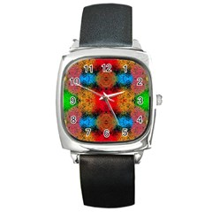 Colorful Goa   Painting Square Metal Watches by Costasonlineshop