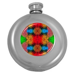 Colorful Goa   Painting Round Hip Flask (5 Oz) by Costasonlineshop