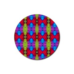 Colorful Painting Goa Pattern Rubber Coaster (round)  by Costasonlineshop