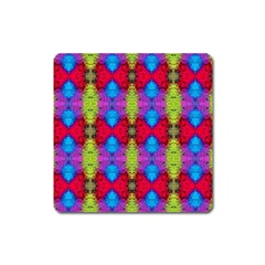 Colorful Painting Goa Pattern Square Magnet by Costasonlineshop