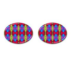 Colorful Painting Goa Pattern Cufflinks (oval) by Costasonlineshop