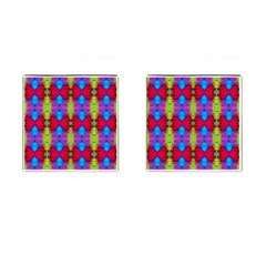 Colorful Painting Goa Pattern Cufflinks (square) by Costasonlineshop