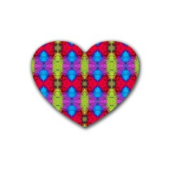 Colorful Painting Goa Pattern Rubber Coaster (heart)  by Costasonlineshop