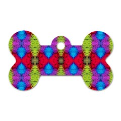 Colorful Painting Goa Pattern Dog Tag Bone (one Side) by Costasonlineshop
