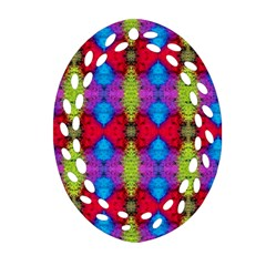 Colorful Painting Goa Pattern Ornament (oval Filigree)  by Costasonlineshop