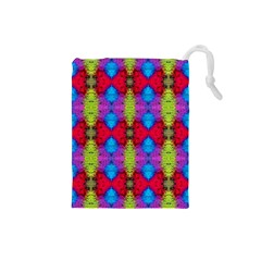 Colorful Painting Goa Pattern Drawstring Pouches (small)  by Costasonlineshop