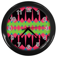 Rhombus And Other Shapes Pattern			wall Clock (black) by LalyLauraFLM