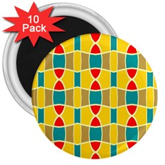 Colorful Chains Pattern			3  Magnet (10 Pack) by LalyLauraFLM