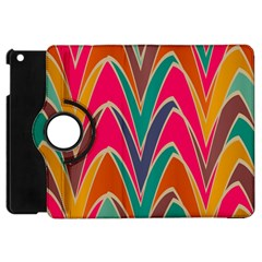 Bended Shapes In Retro Colors			apple Ipad Mini Flip 360 Case by LalyLauraFLM