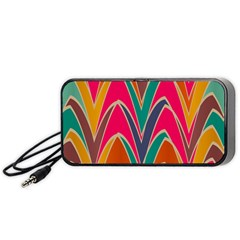 Bended Shapes In Retro Colors Portable Speaker by LalyLauraFLM