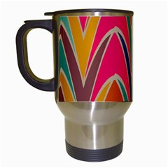 Bended Shapes In Retro Colors Travel Mug (white) by LalyLauraFLM
