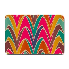 Bended Shapes In Retro Colors			small Doormat