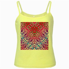 Ethnic Tribal Pattern G327 Yellow Spaghetti Tanks by MedusArt