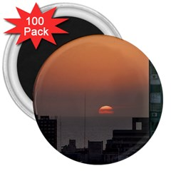Aerial View Of Sunset At The River In Montevideo Uruguay 3  Magnets (100 Pack) by dflcprints