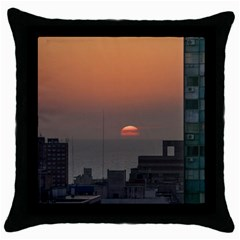 Aerial View Of Sunset At The River In Montevideo Uruguay Throw Pillow Cases (black) by dflcprints
