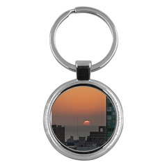 Aerial View Of Sunset At The River In Montevideo Uruguay Key Chains (round)  by dflcprints