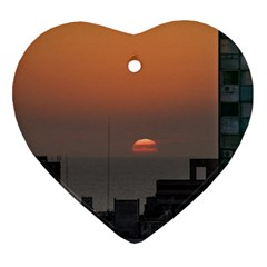 Aerial View Of Sunset At The River In Montevideo Uruguay Heart Ornament (2 Sides) by dflcprints