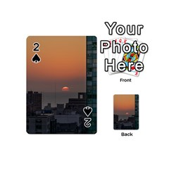 Aerial View Of Sunset At The River In Montevideo Uruguay Playing Cards 54 (mini)  by dflcprints