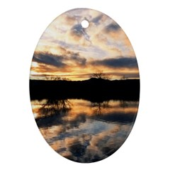 Sun Reflected On Lake Ornament (oval)  by trendistuff