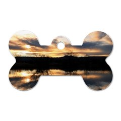 Sun Reflected On Lake Dog Tag Bone (two Sides) by trendistuff