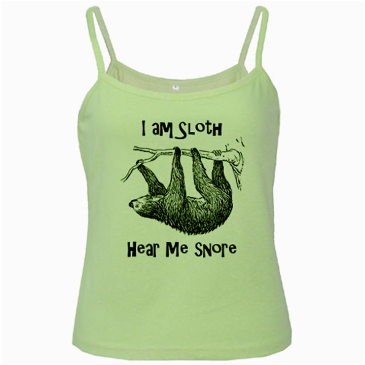 Sloth Green Spaghetti Tanks