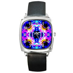 Animal Design Abstract Blue, Pink, Black Square Metal Watches by Costasonlineshop