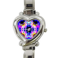 Animal Design Abstract Blue, Pink, Black Heart Italian Charm Watch by Costasonlineshop