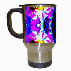 Animal Design Abstract Blue, Pink, Black Travel Mugs (white) by Costasonlineshop