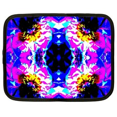 Animal Design Abstract Blue, Pink, Black Netbook Case (large) by Costasonlineshop