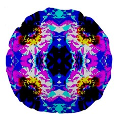 Animal Design Abstract Blue, Pink, Black Large 18  Premium Flano Round Cushions by Costasonlineshop