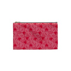 Valentine Hearts Pattern Pink Cosmetic Bag (small)  by ArigigiPixel