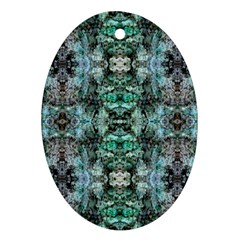 Green Black Gothic Pattern Ornament (oval)  by Costasonlineshop