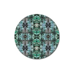 Green Black Gothic Pattern Magnet 3  (round) by Costasonlineshop