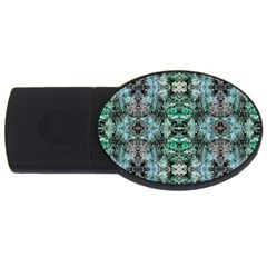 Green Black Gothic Pattern Usb Flash Drive Oval (2 Gb)  by Costasonlineshop