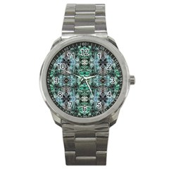 Green Black Gothic Pattern Sport Metal Watches by Costasonlineshop