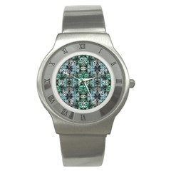 Green Black Gothic Pattern Stainless Steel Watches by Costasonlineshop
