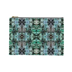 Green Black Gothic Pattern Cosmetic Bag (large)  by Costasonlineshop